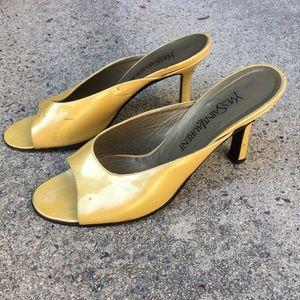 YSL Iridescent Mustard Patent Leather Mules~